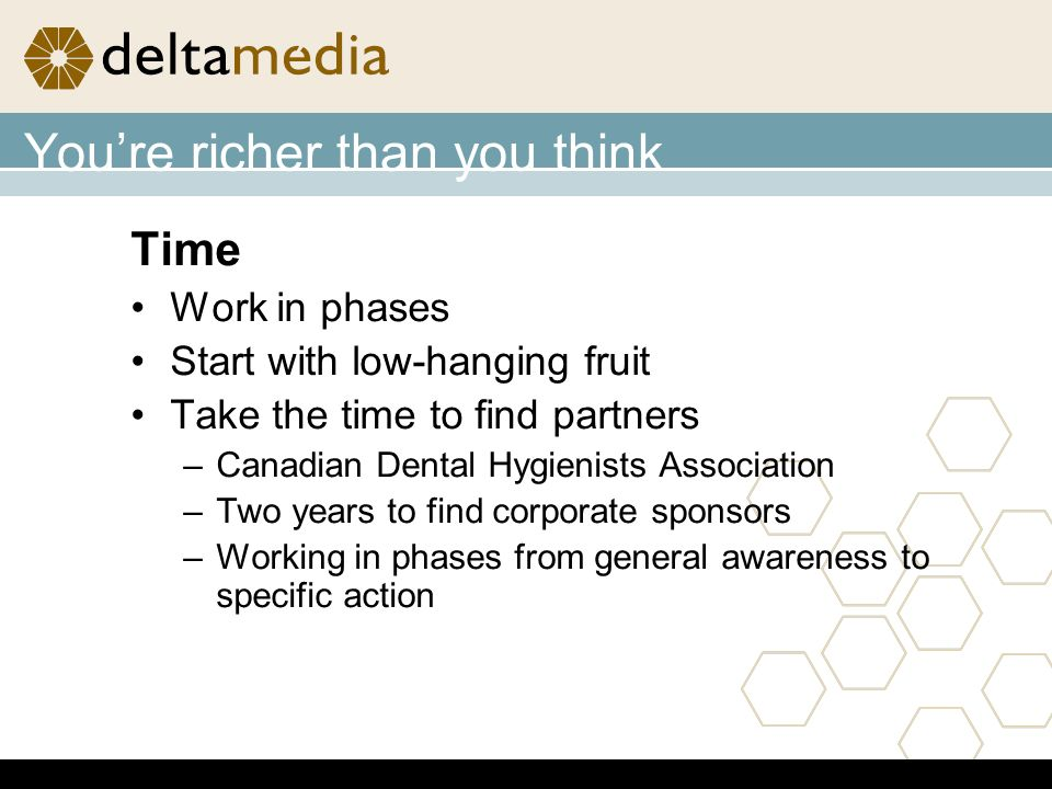 Youre richer than you think Time Work in phases Start with low-hanging fruit Take the time to find partners –Canadian Dental Hygienists Association –Two years to find corporate sponsors –Working in phases from general awareness to specific action