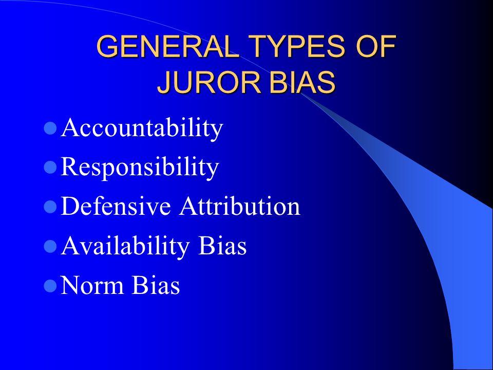 GENERAL TYPES OF JUROR BIAS Accountability Responsibility Defensive Attribution Availability Bias Norm Bias