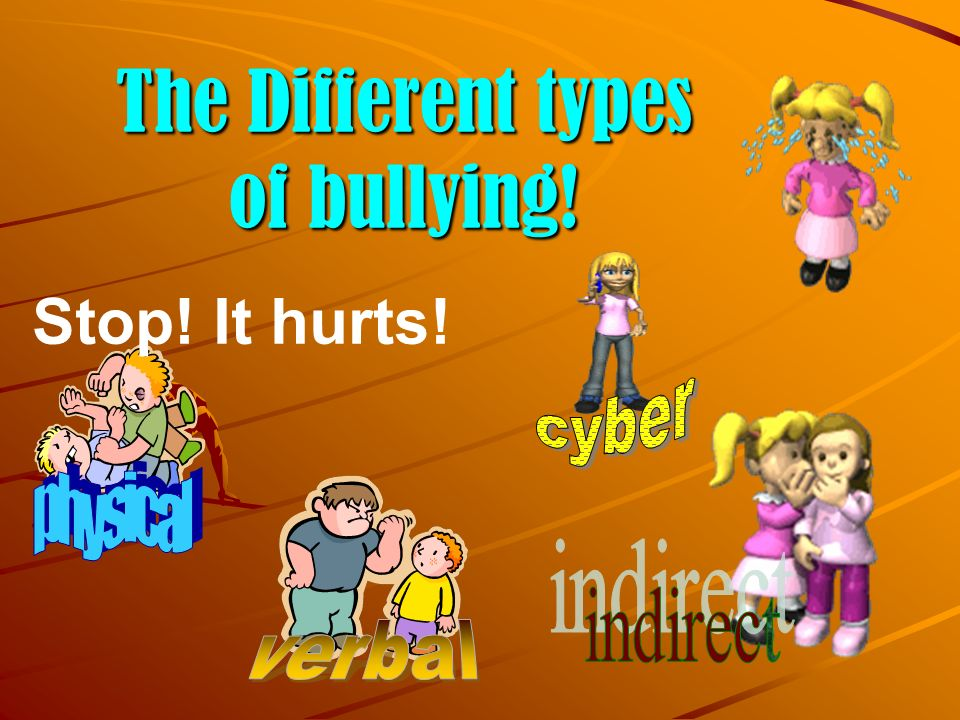 The Different types of bullying! Stop! It hurts!