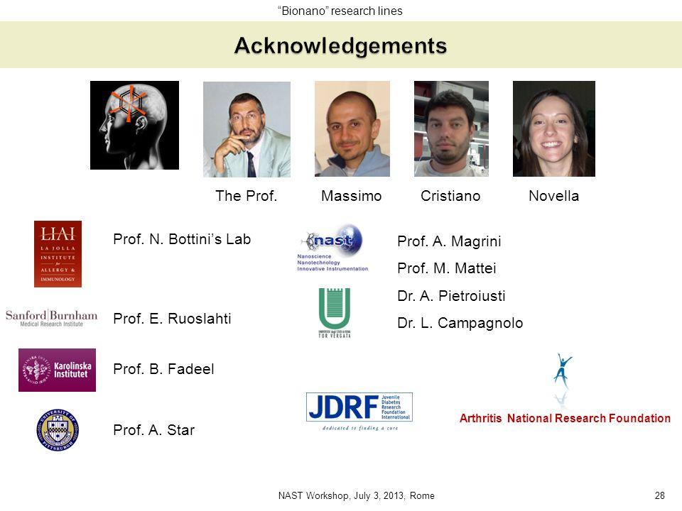 Prof. E. Ruoslahti Prof. N. Bottinis Lab Prof. A. Magrini Prof. M. Mattei Dr. A. Pietroiusti Dr. L. Campagnolo NovellaMassimoCristiano Arthritis Natio