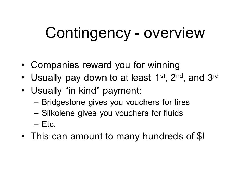 Contingency – how to get it OMRRA builds relationships with companies You fill out some paperwork each raceday You put stickers on your bike, patches on your leathers, etc.