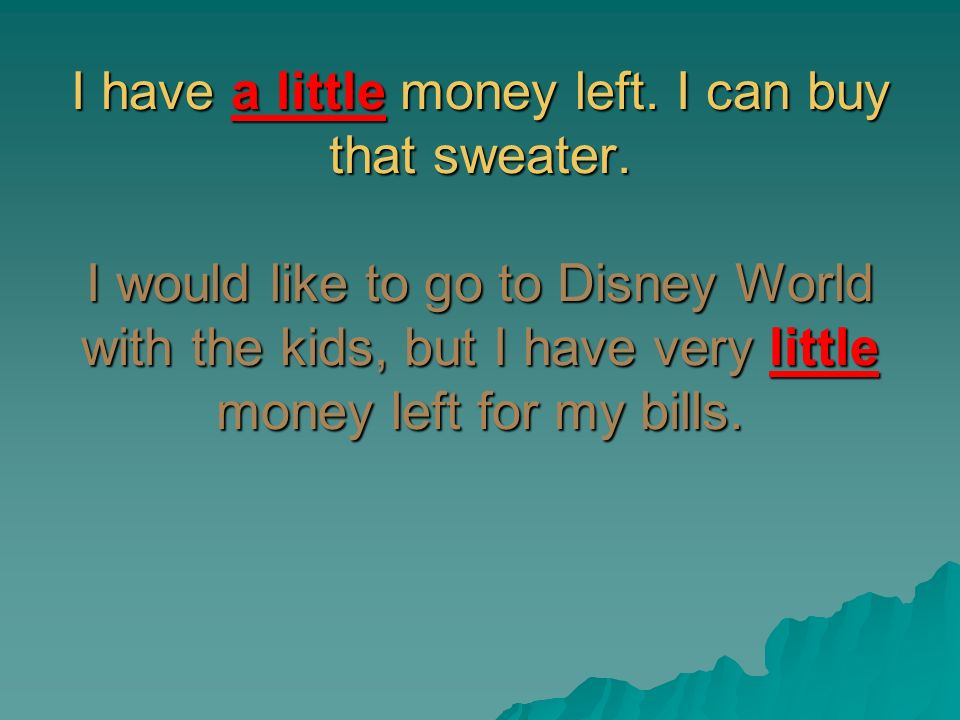I have a little money left. I can buy that sweater. I would like to go to Disney World with the kids, but I have very little money left for my bills.