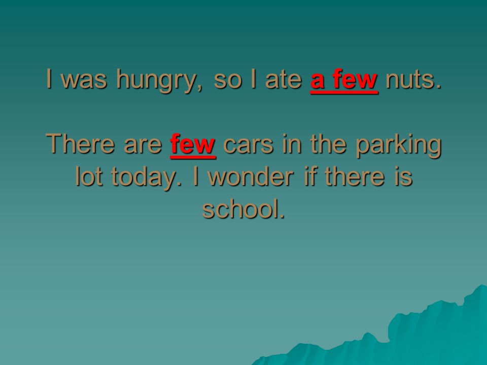 I was hungry, so I ate a few nuts. There are few cars in the parking lot today. I wonder if there is school.