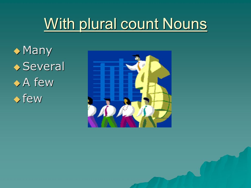 With plural count Nouns Many Many Several Several A few A few few few