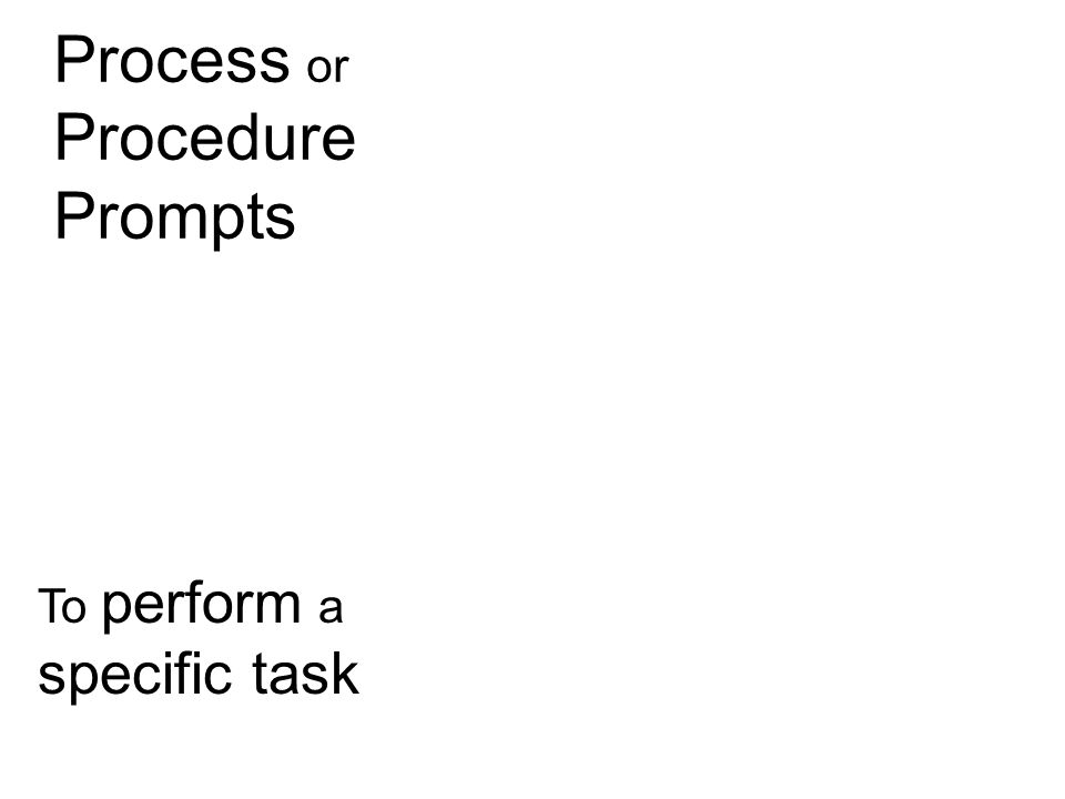Process or Procedure Prompts To perform a specific task