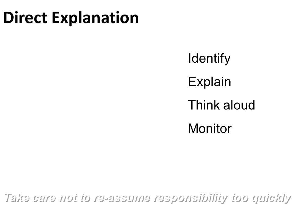 Direct Explanation Take care not to re-assume responsibility too quickly Identify Explain Think aloud Monitor