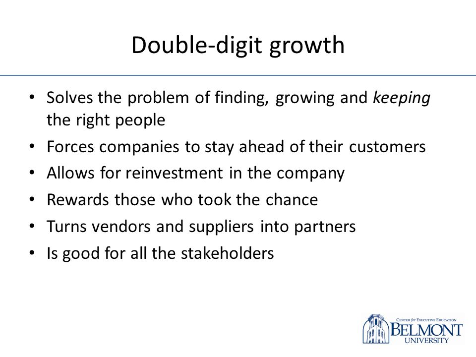 Double-digit growth Solves the problem of finding, growing and keeping the right people Forces companies to stay ahead of their customers Allows for r