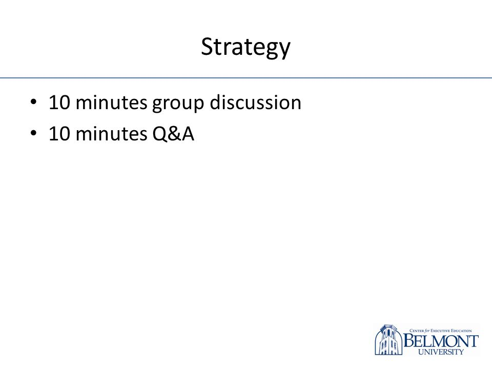 Strategy 10 minutes group discussion 10 minutes Q&A
