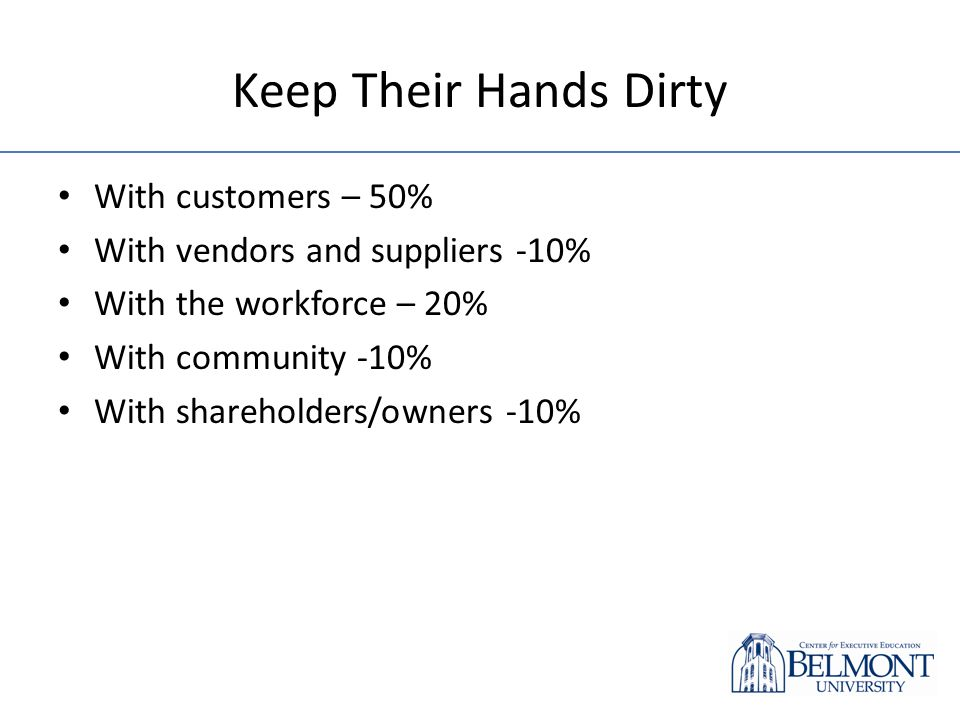 Keep Their Hands Dirty With customers – 50% With vendors and suppliers -10% With the workforce – 20% With community -10% With shareholders/owners -10%