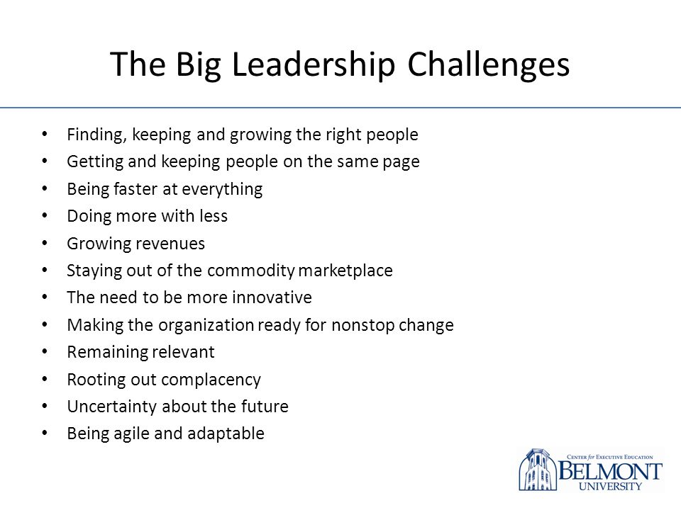 The Big Leadership Challenges Finding, keeping and growing the right people Getting and keeping people on the same page Being faster at everything Doi