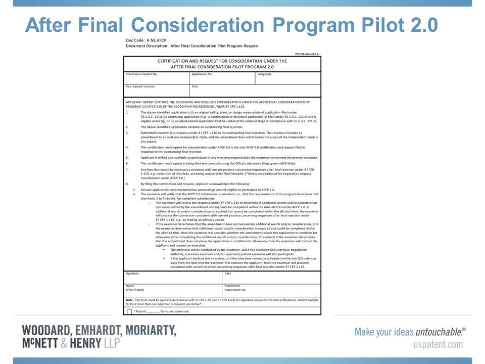 After Final Consideration Program Pilot 2.0