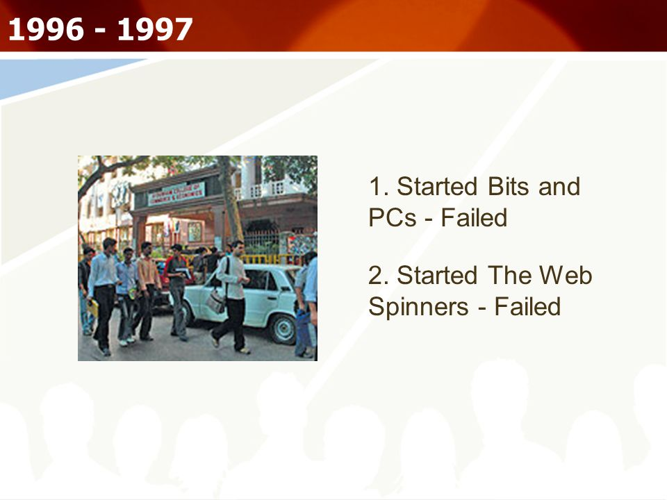1996 - 1997 1. Started Bits and PCs - Failed 2. Started The Web Spinners - Failed