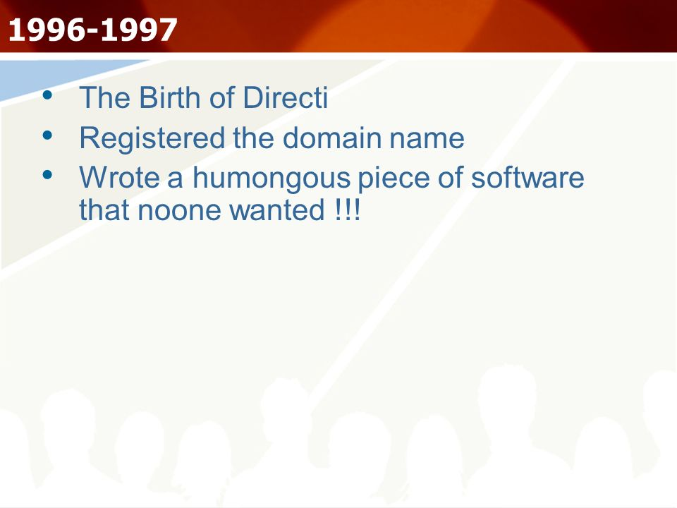 1996-1997 The Birth of Directi Registered the domain name Wrote a humongous piece of software that noone wanted !!!