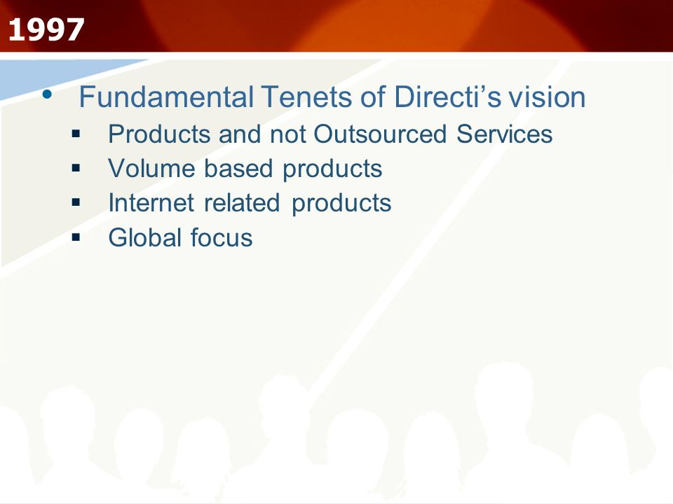 Fundamental Tenets of Directis vision Products and not Outsourced Services Volume based products Internet related products Global focus 1997