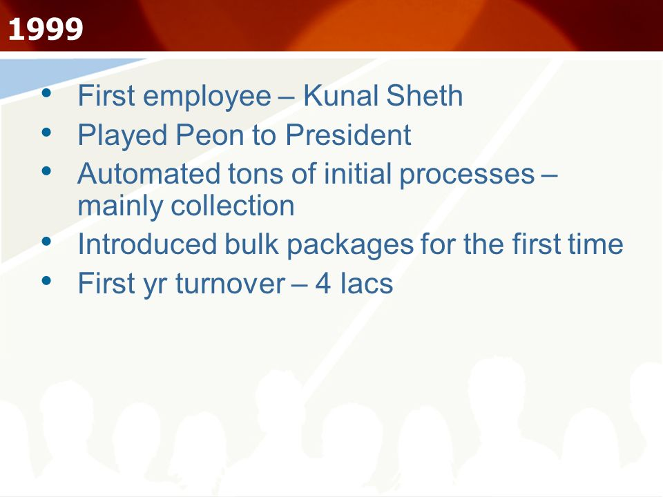 1999 First employee – Kunal Sheth Played Peon to President Automated tons of initial processes – mainly collection Introduced bulk packages for the fi