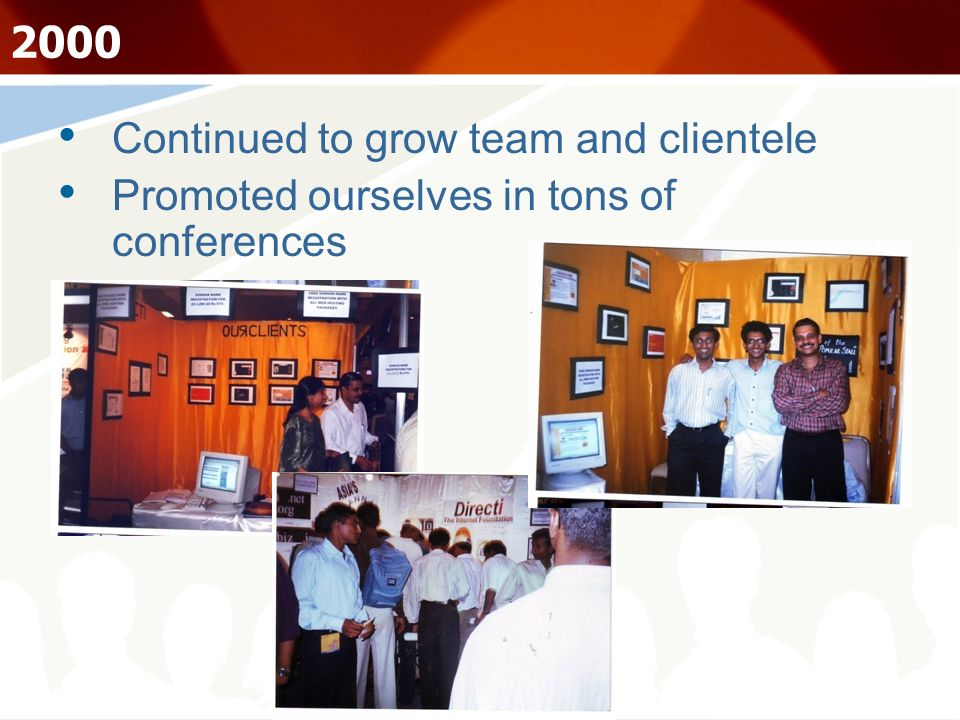 2000 Continued to grow team and clientele Promoted ourselves in tons of conferences