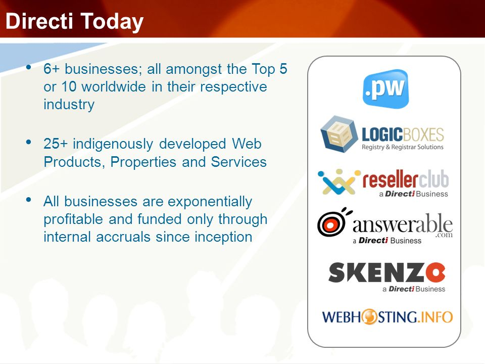 Directi Today 6+ businesses; all amongst the Top 5 or 10 worldwide in their respective industry 25+ indigenously developed Web Products, Properties an