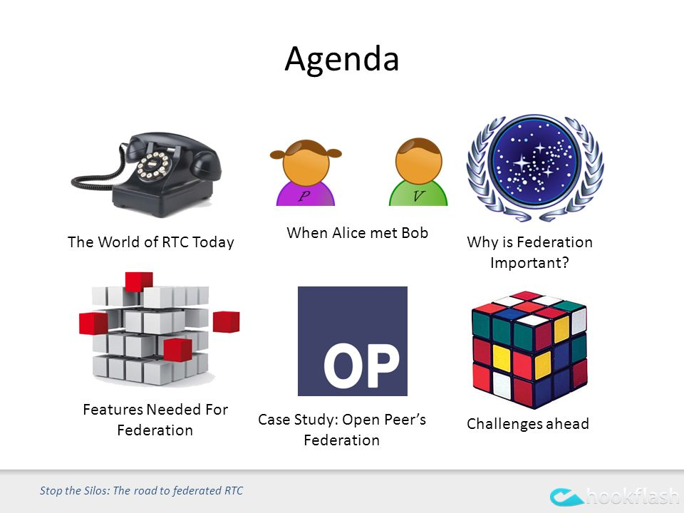 Agenda Stop the Silos: The road to federated RTC Case Study: Open Peers Federation Why is Federation Important.