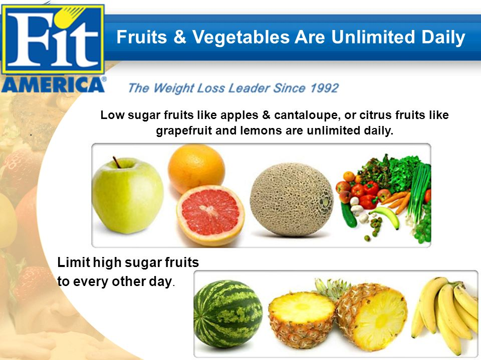 .. Fruits & Vegetables Are Unlimited Daily Limit high sugar fruits to every other day.