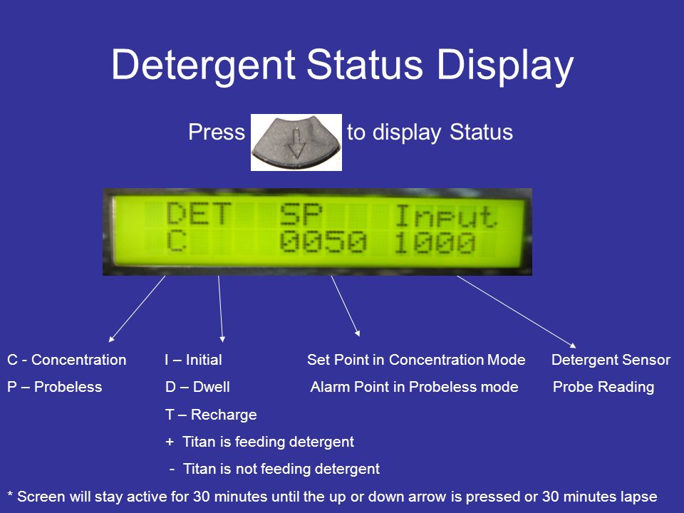 Detergent Status Display Press to display Status C - Concentration I – Initial Set Point in Concentration Mode Detergent Sensor P – Probeless D – Dwel