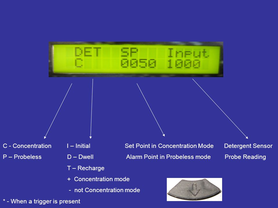 C - Concentration I – Initial Set Point in Concentration Mode Detergent Sensor P – Probeless D – Dwell Alarm Point in Probeless mode Probe Reading T –