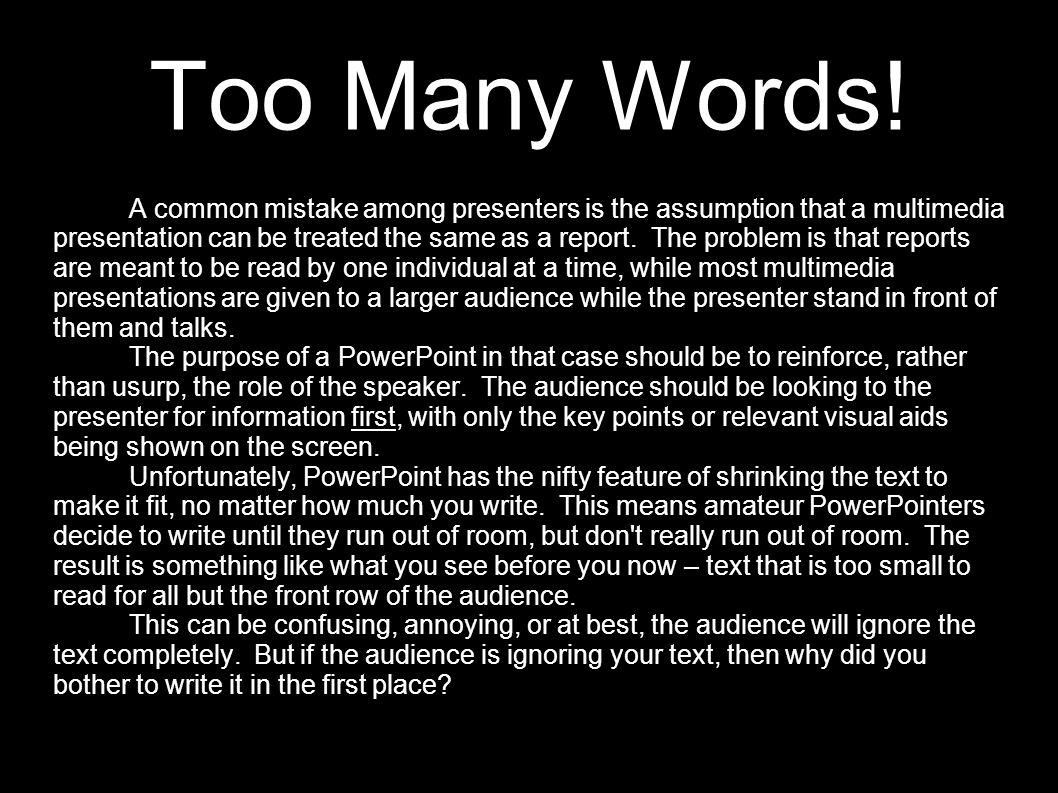 Too Many Words.