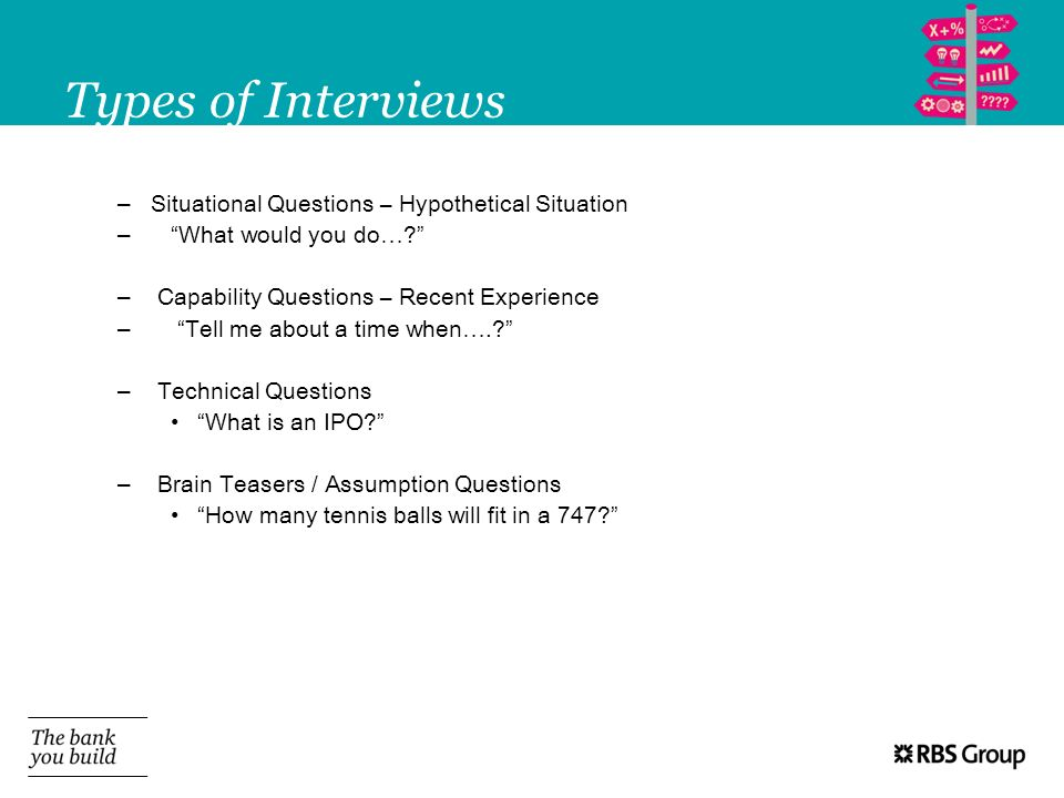 Types of Interviews – Situational Questions – Hypothetical Situation – What would you do…? – Capability Questions – Recent Experience – Tell me about