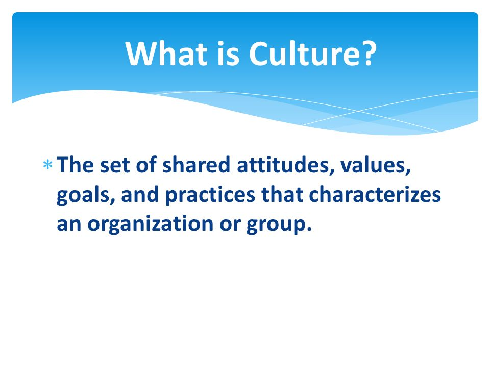 The set of shared attitudes, values, goals, and practices that characterizes an organization or group. What is Culture?