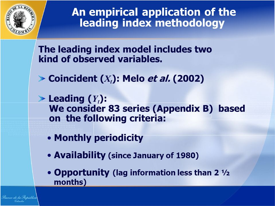 The leading index model includes two kind of observed variables.