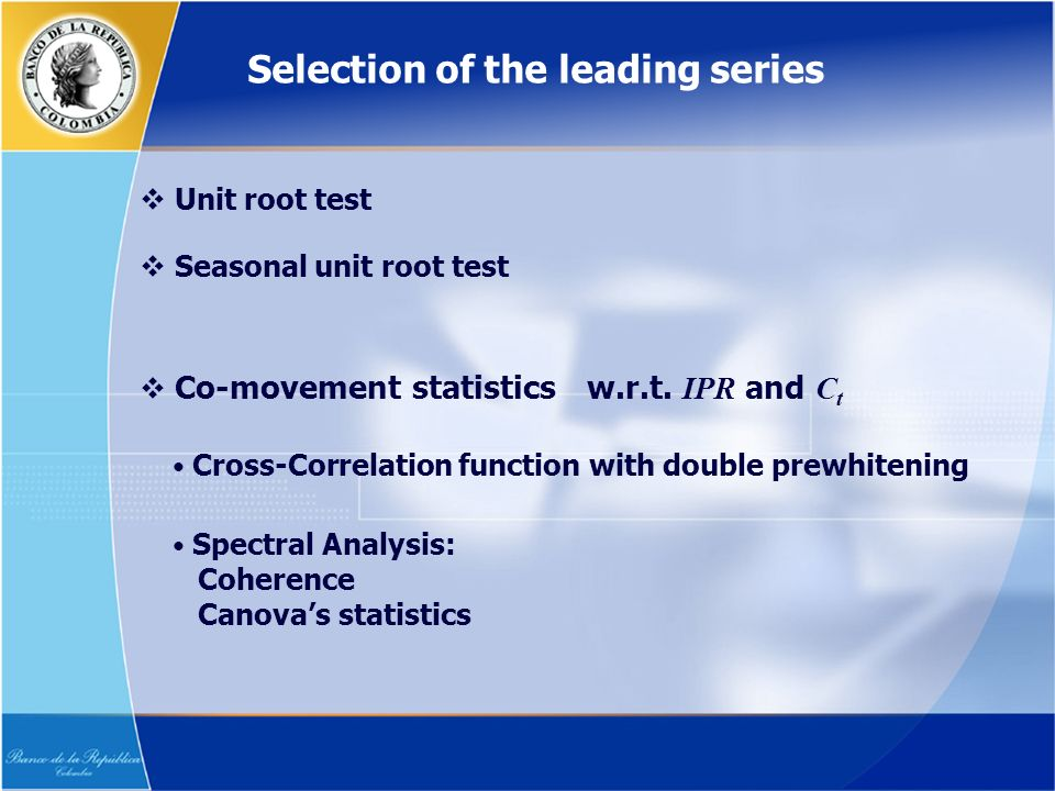 Unit root test Co-movement statistics w.r.t.