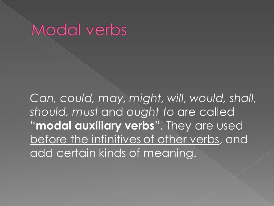 Can, could, may, might, will, would, shall, should, must and ought to are called modal auxiliary verbs.