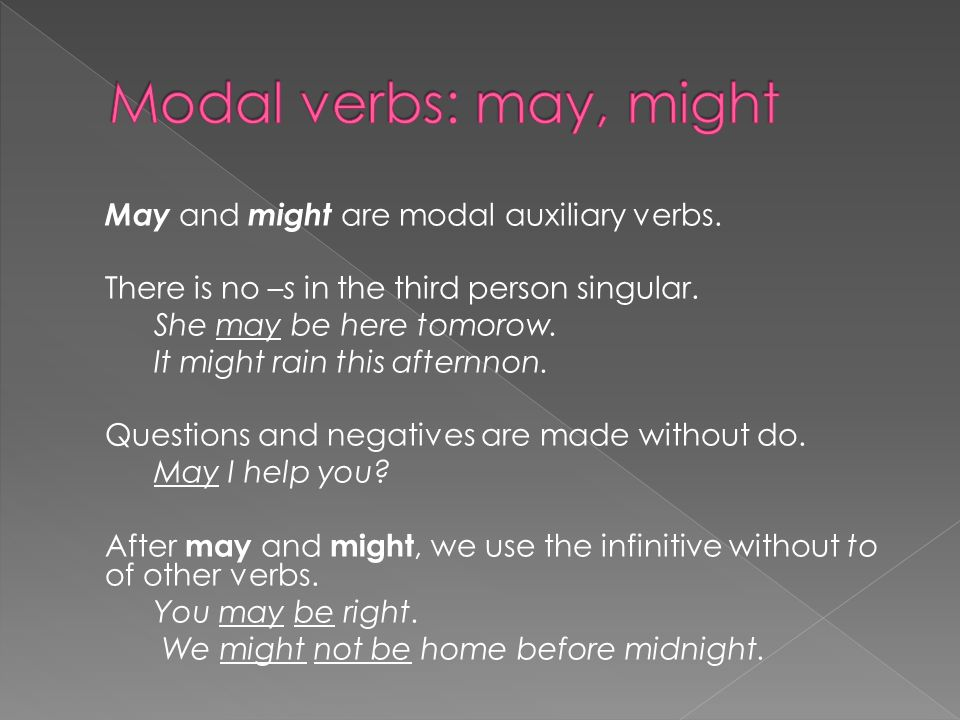 May and might are modal auxiliary verbs. There is no –s in the third person singular.