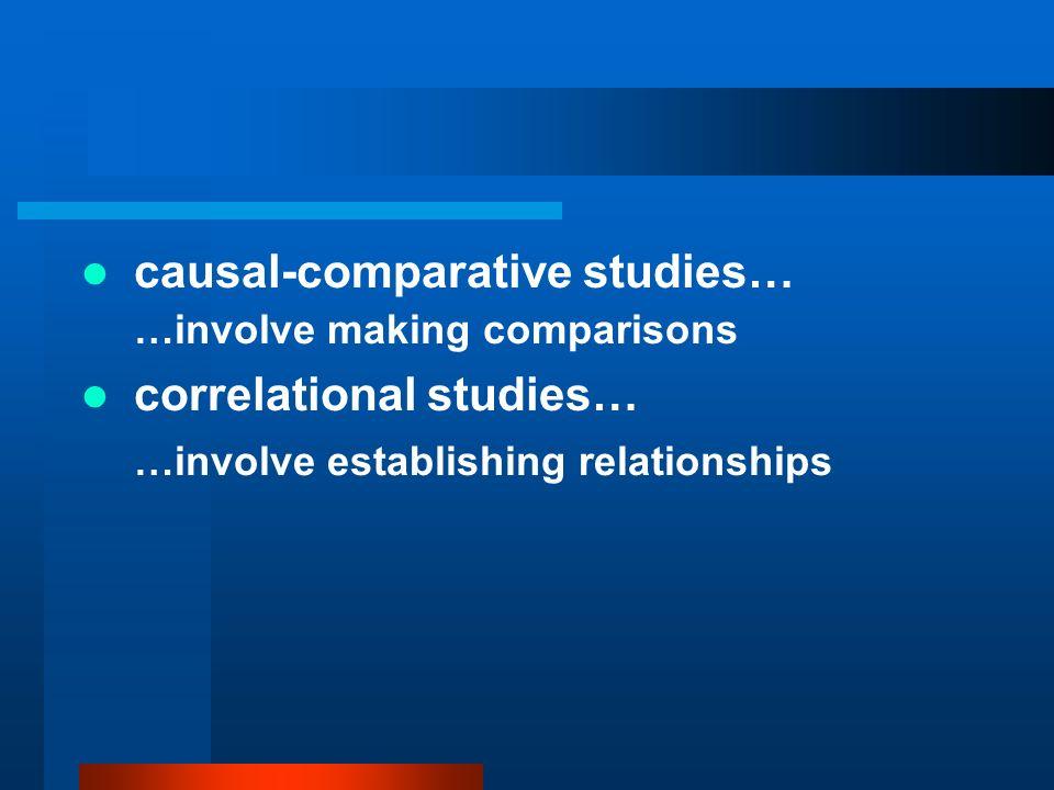 causal-comparative studies… …involve making comparisons correlational studies… …involve establishing relationships