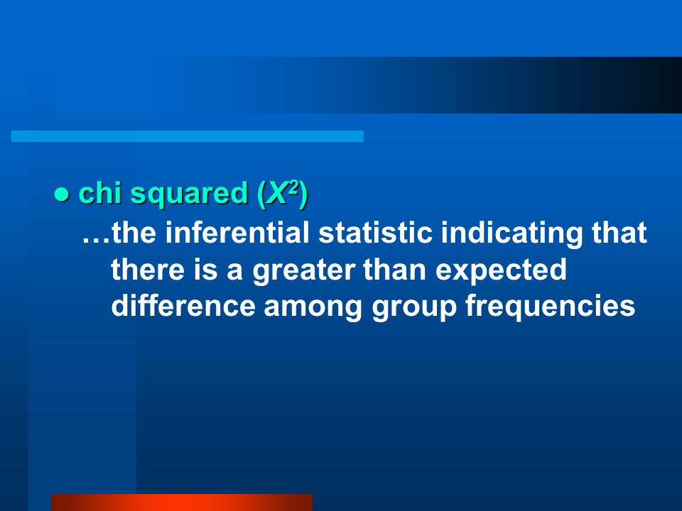 chi squared (Χ 2 ) chi squared (Χ 2 ) …the inferential statistic indicating that there is a greater than expected difference among group frequencies