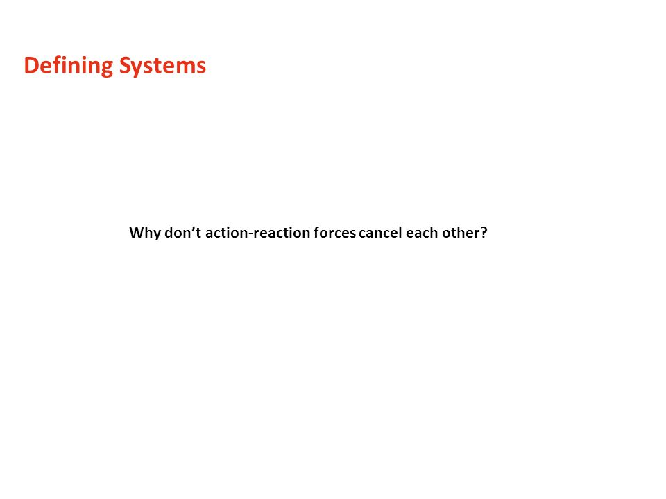 Why dont action-reaction forces cancel each other? Defining Systems