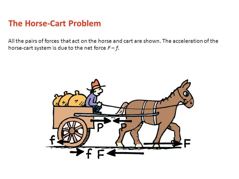 All the pairs of forces that act on the horse and cart are shown. The acceleration of the horse-cart system is due to the net force F – f. The Horse-C
