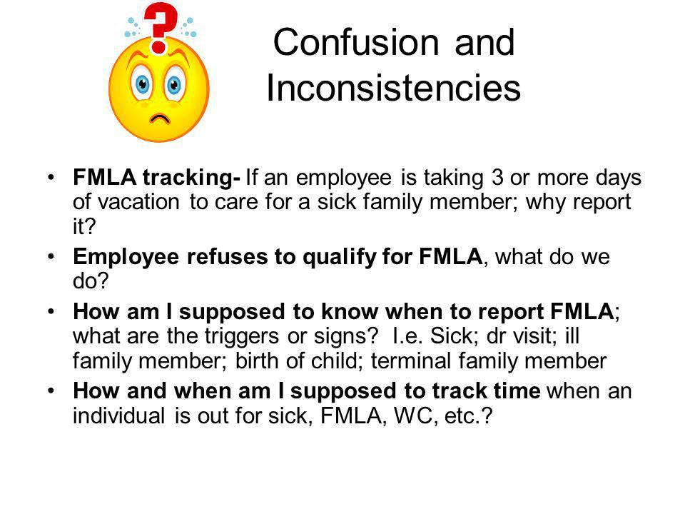 Confusion and Inconsistencies FMLA tracking- If an employee is taking 3 or more days of vacation to care for a sick family member; why report it? Empl