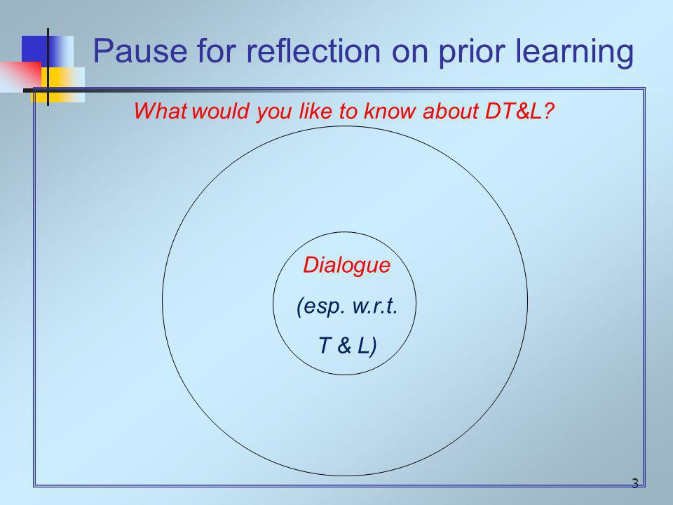 3 Dialogue (esp. w.r.t.