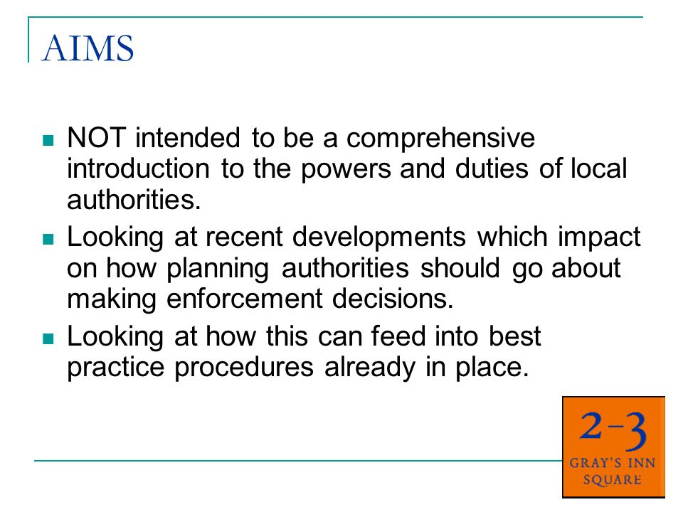 AIMS NOT intended to be a comprehensive introduction to the powers and duties of local authorities. Looking at recent developments which impact on how