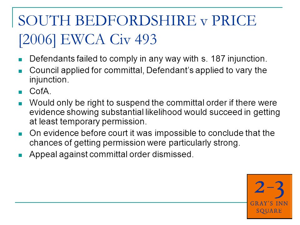 MID BEDFORDSHIRE DC v BROWN [2006] EWHC 1362 Gypsies moved off land pursuant to an injunction but moved back due to desperation.