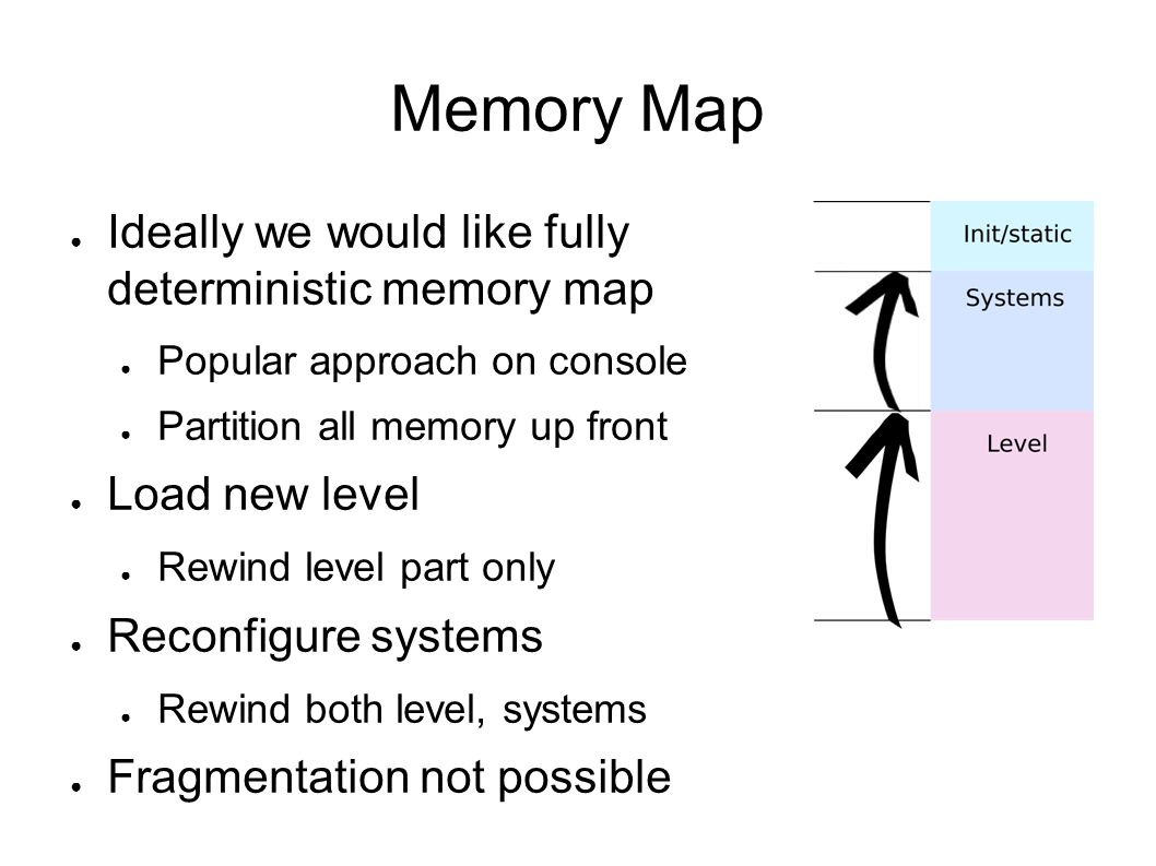Linear Allocation Many games use linear allocators to achieve this kind of memory map Linear allocators basically sit on a pointer Allocations just increment the pointer To rewind, reset the pointer Very fast, but only suitable for POD data No finalizers/destructors called Used in Frostbite s renderer for command buffers