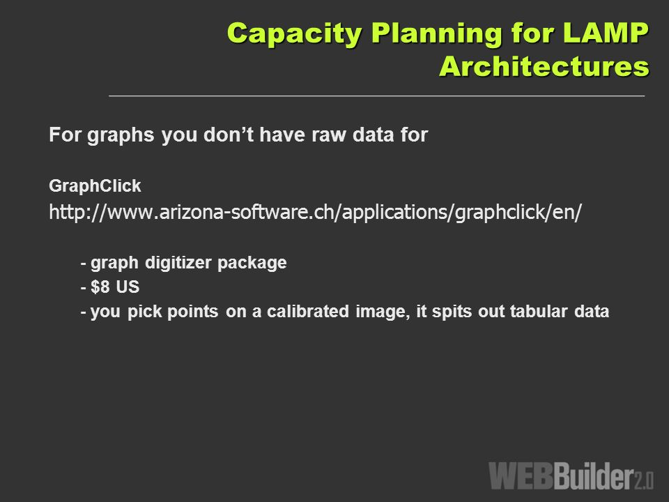 Capacity Planning for LAMP Architectures For graphs you dont have raw data for GraphClick   - graph digitizer package - $8 US - you pick points on a calibrated image, it spits out tabular data