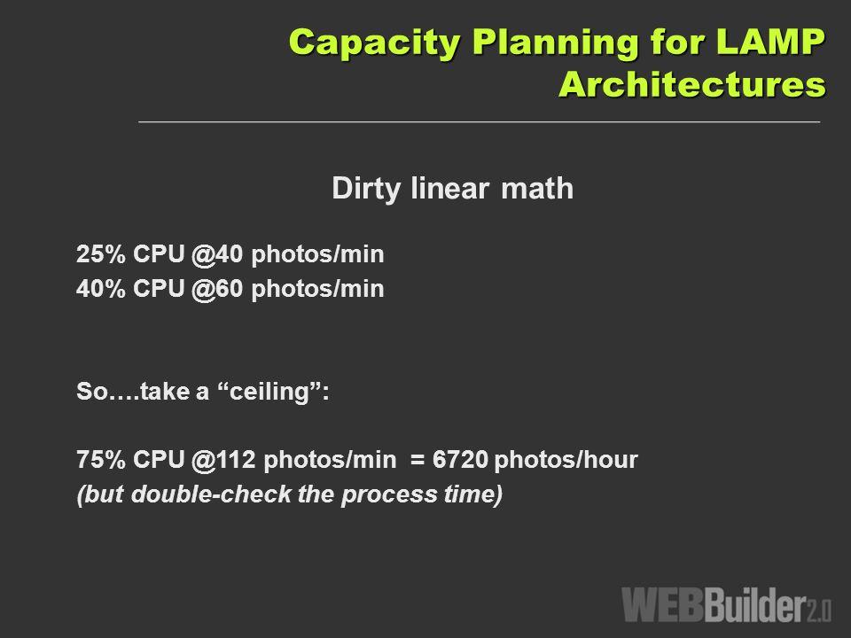 Dirty linear math 25% CPU @40 photos/min 40% CPU @60 photos/min So….take a ceiling: 75% CPU @112 photos/min = 6720 photos/hour (but double-check the process time)