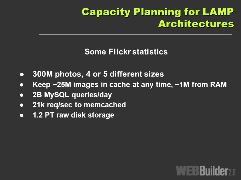 Capacity Planning for LAMP Architectures Some Flickr statistics 300M photos, 4 or 5 different sizes Keep ~25M images in cache at any time, ~1M from RAM 2B MySQL queries/day 21k req/sec to memcached 1.2 PT raw disk storage