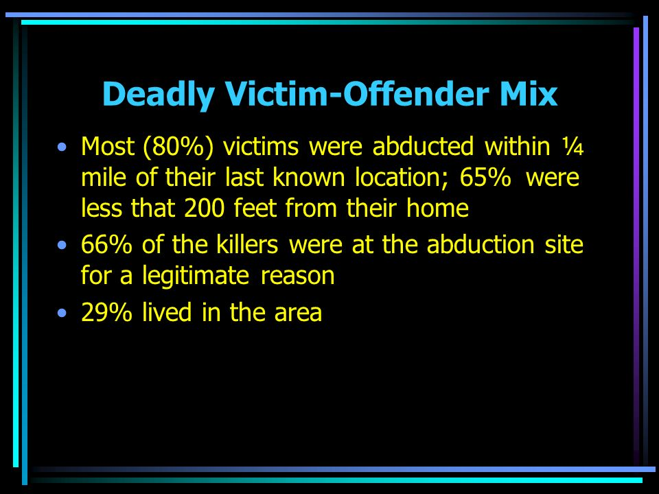 Deadly Victim-Offender Mix Most (80%) victims were abducted within ¼ mile of their last known location; 65% were less that 200 feet from their home 66