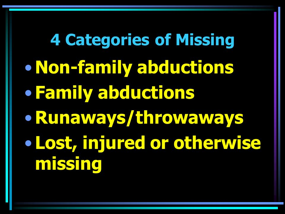 4 Categories of Missing Non-family abductions Family abductions Runaways/throwaways Lost, injured or otherwise missing