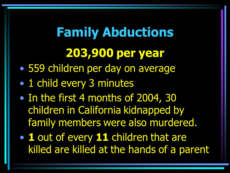 Family Abductions 203,900 per year 559 children per day on average 1 child every 3 minutes In the first 4 months of 2004, 30 children in California kidnapped by family members were also murdered.