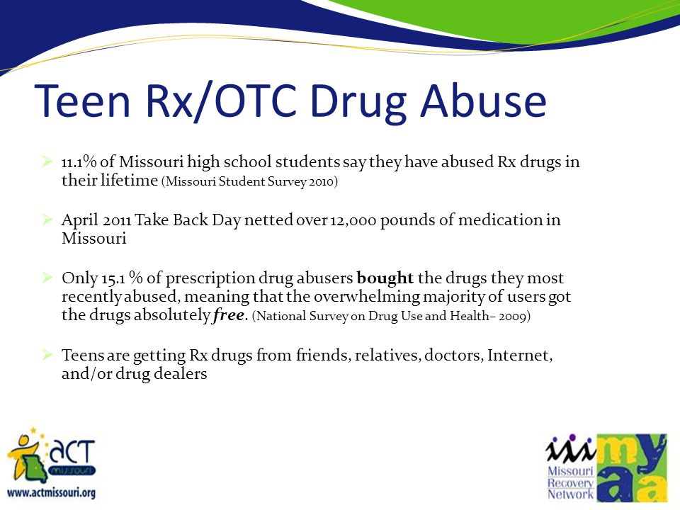 11.1% of Missouri high school students say they have abused Rx drugs in their lifetime (Missouri Student Survey 2010) April 2011 Take Back Day netted