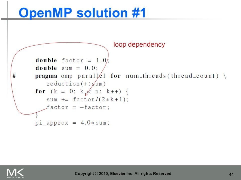 44 OpenMP solution #1 Copyright © 2010, Elsevier Inc. All rights Reserved loop dependency