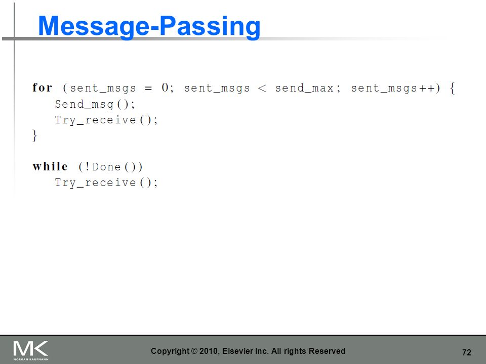 72 Message-Passing Copyright © 2010, Elsevier Inc. All rights Reserved
